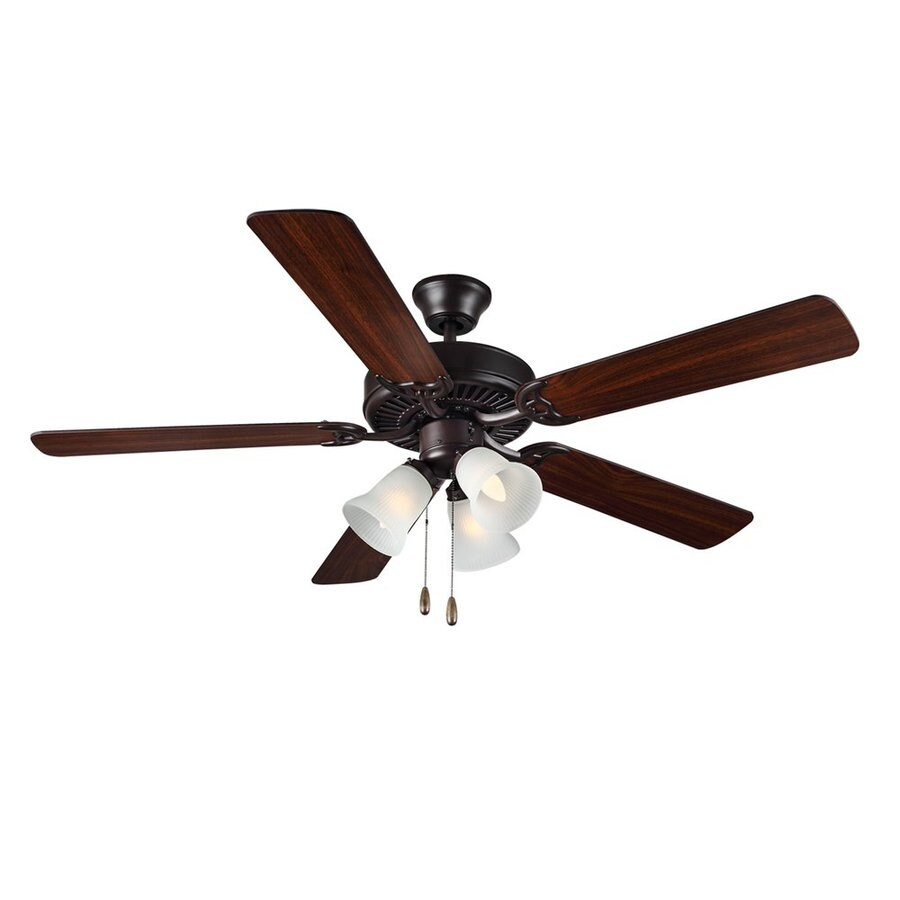 Monte Carlo Fan Company HomeBuilder II 52-in Bronze Indoor Downrod Or Close Mount Ceiling Fan with Light Kit