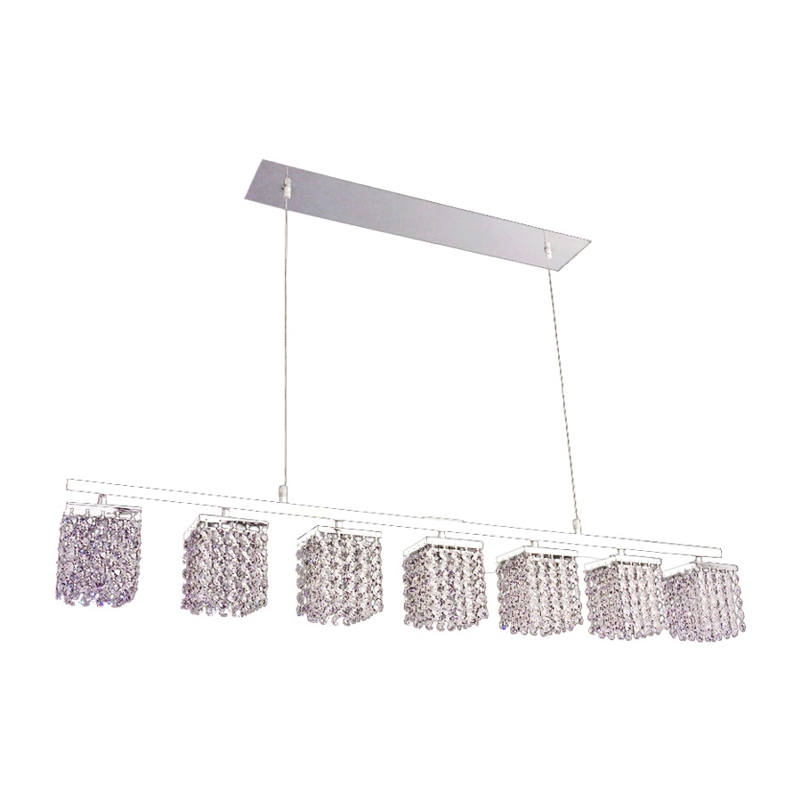 Classic Lighting Bedazzle 46-in W 7-Light Chrome Crystal Kitchen Island Light with Crystal Shade