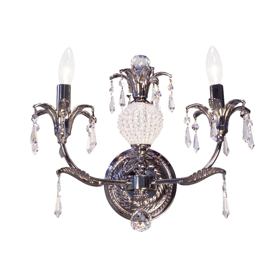 Classic Lighting Sharon 14-in W 2-Light Chrome Crystal Accent Arm Hardwired Wall Sconce