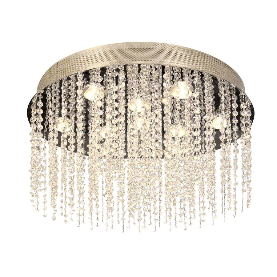 Classic Lighting Crystal Rain 24-in W Chrome Crystal Ceiling Flush Mount Light