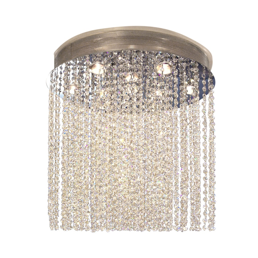 Classic Lighting Crystal Rain 24-in W Chrome Crystal Flush Mount Light