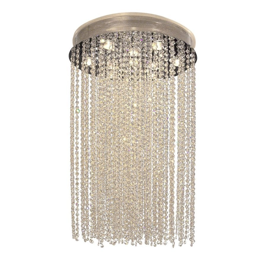 Classic Lighting Crystal Rain 24-in W Chrome Crystal Ceiling Flush Mount Light
