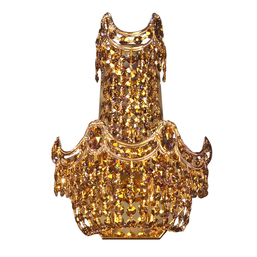 Classic Lighting Regency 10-in W 1-Light 24K Gold Plate Crystal Pocket Wall Sconce