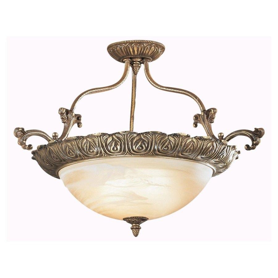 Classic Lighting Montego Bay 28-in W Roman Bronze Alabaster Glass Semi-Flush Mount Light