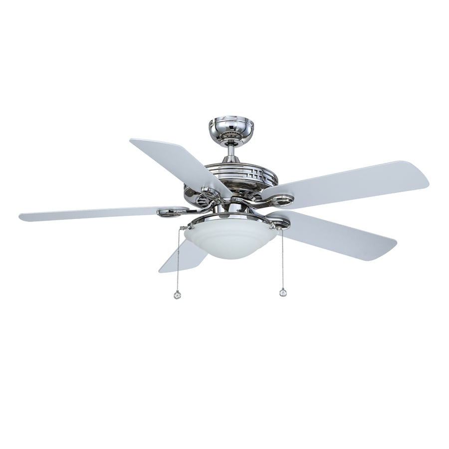 Kendal Lighting Builder's Choice 52-in Polished Nickel Downrod Mount Indoor Ceiling Fan with Light Kit (5-Blade)