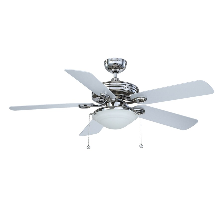 Kendal Lighting Builder's Choice 52-in Polished nickel Indoor Downrod Mount Ceiling Fan with Light Kit