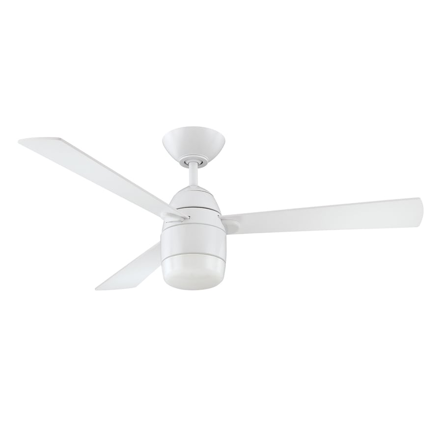 Kendal Lighting Antron 42-in White Indoor Downrod Mount Ceiling Fan with Light Kit and Remote (3-Blade)
