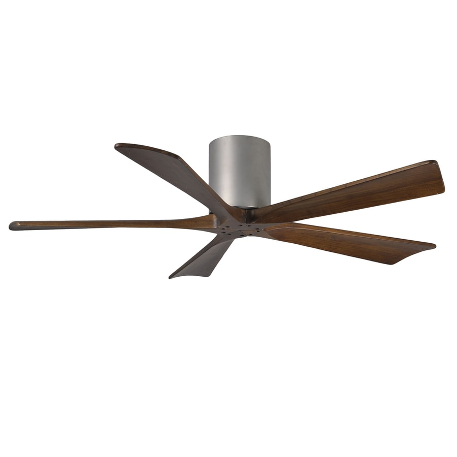 Matthews Irene 52-in Brushed Nickel Flush Mount Indoor/Outdoor Ceiling Fan with Remote (5-Blade)
