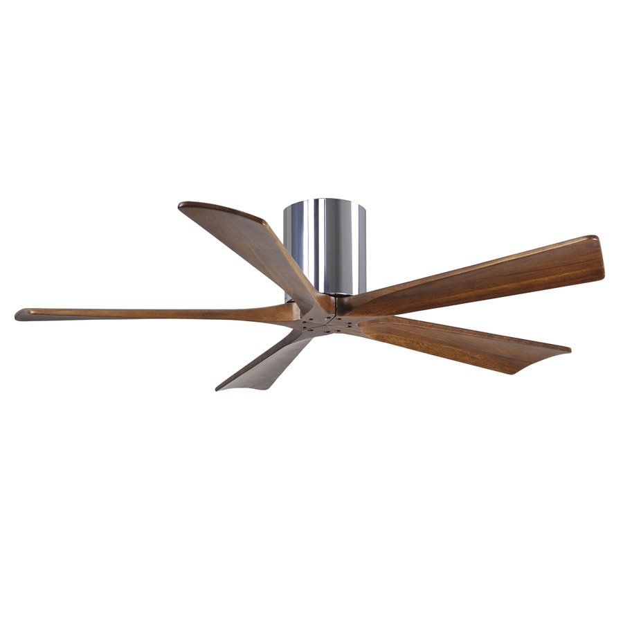 Matthews Irene 52-in Chrome Flush Mount Indoor/Outdoor Ceiling Fan with Remote (5-Blade)
