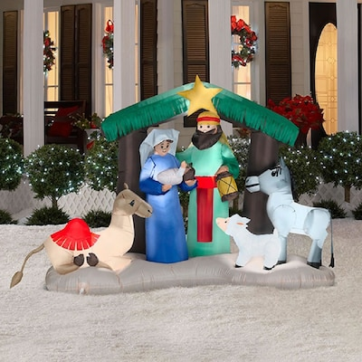 pretty nice 2afad 6246e 4.724-ft Internal Light Nativity Christmas Inflatable at ...