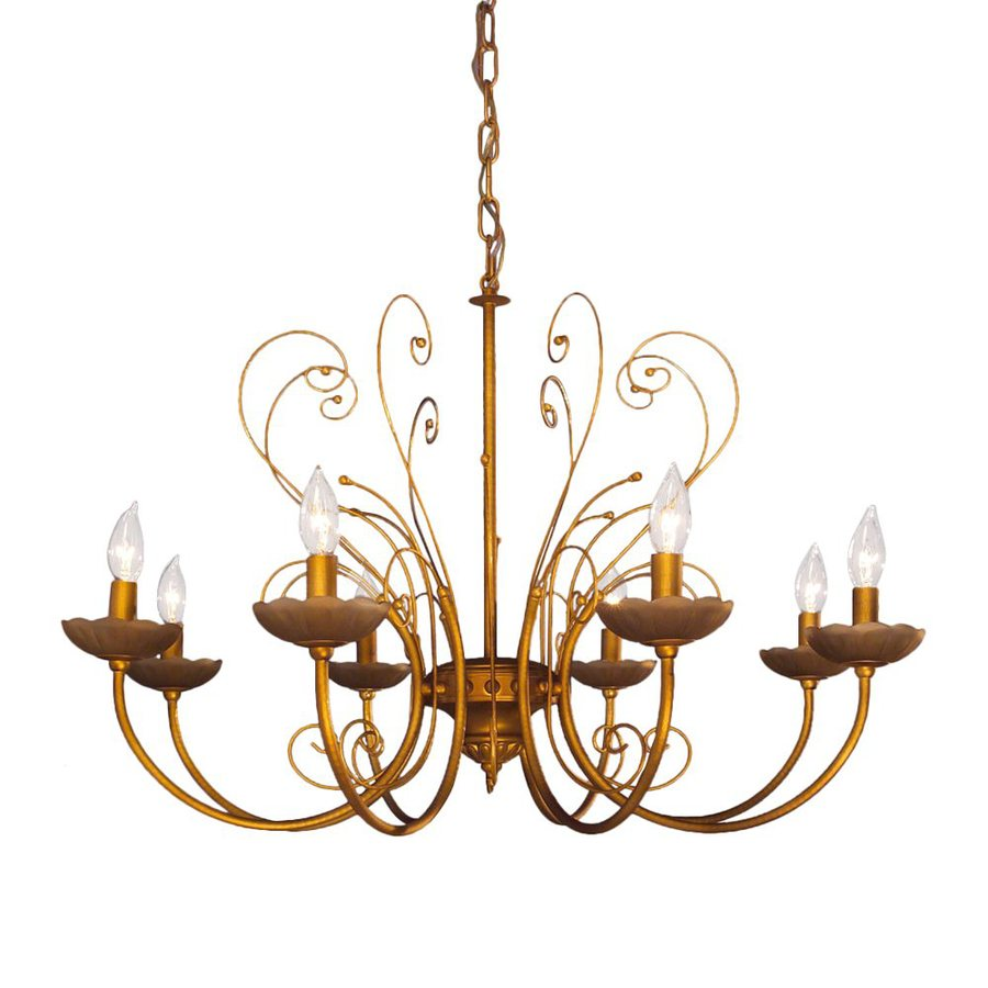 Classic Lighting Belleair 31-in 8-Light Mocca Gold Vintage Candle Chandelier