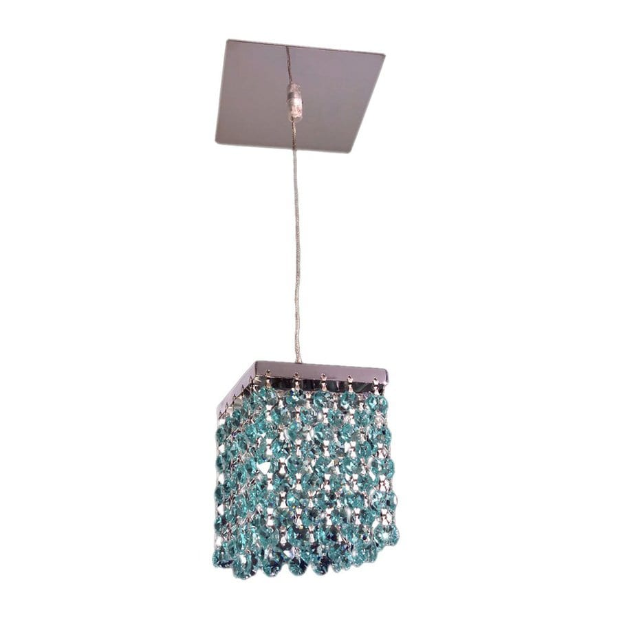 Classic Lighting Bedazzle 4-in Chrome Mini Crystal Rectangle Pendant