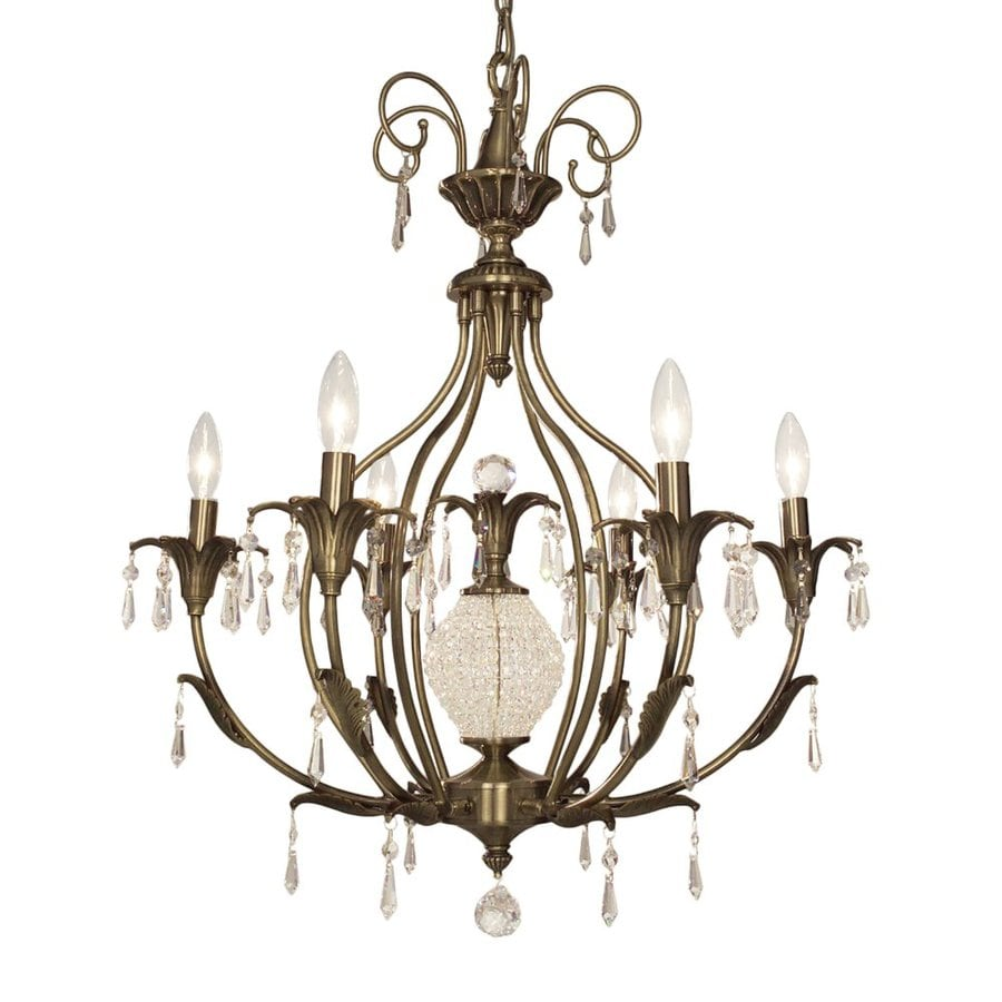 Classic Lighting Sharon 26-in 6-Light Antique Brass Vintage Candle Chandelier