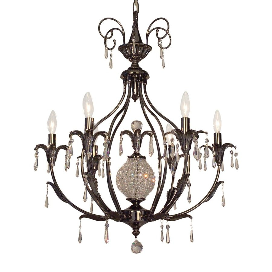 Classic Lighting Sharon 26-in 6-Light Ebony Pearl Vintage Candle Chandelier