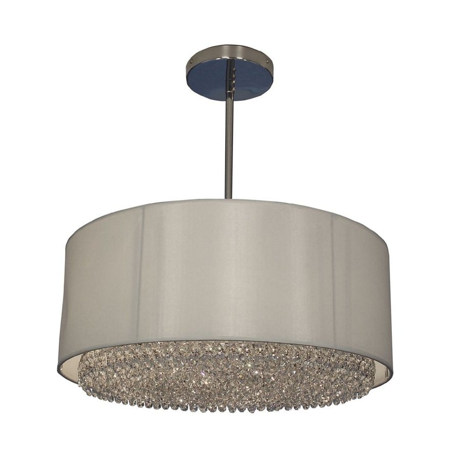 Classic Lighting Newport 21-in Chrome Single Crystal Drum Pendant