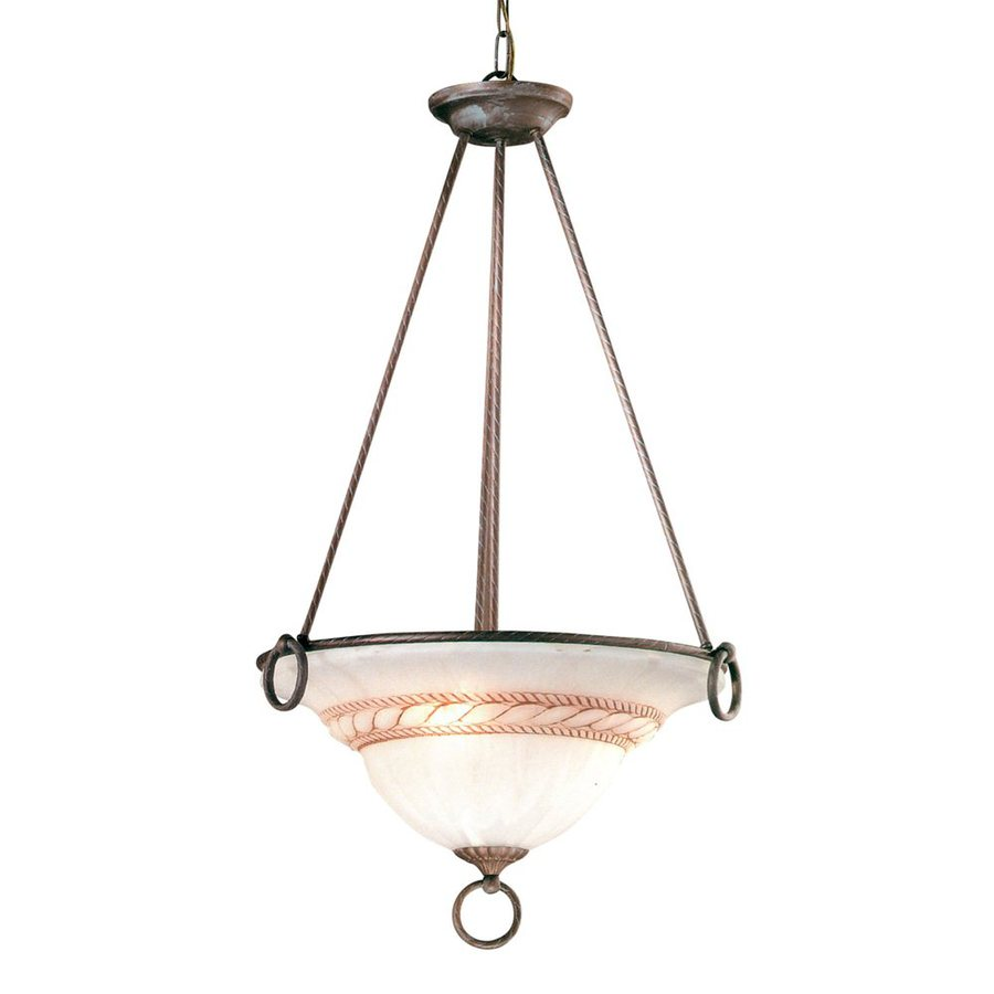 Classic Lighting Livorno 22-in Bronze Single Alabaster Glass Bowl Pendant