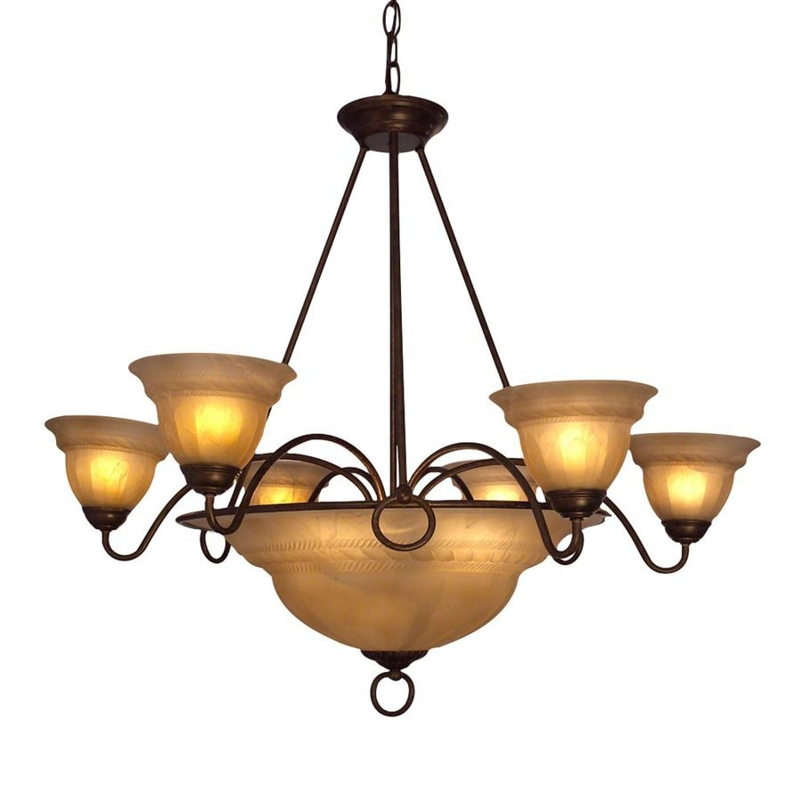 Classic Lighting Livorno 35-in 9-Light English Bronze with Cream Mediterranean Alabaster Glass Shaded Chandelier