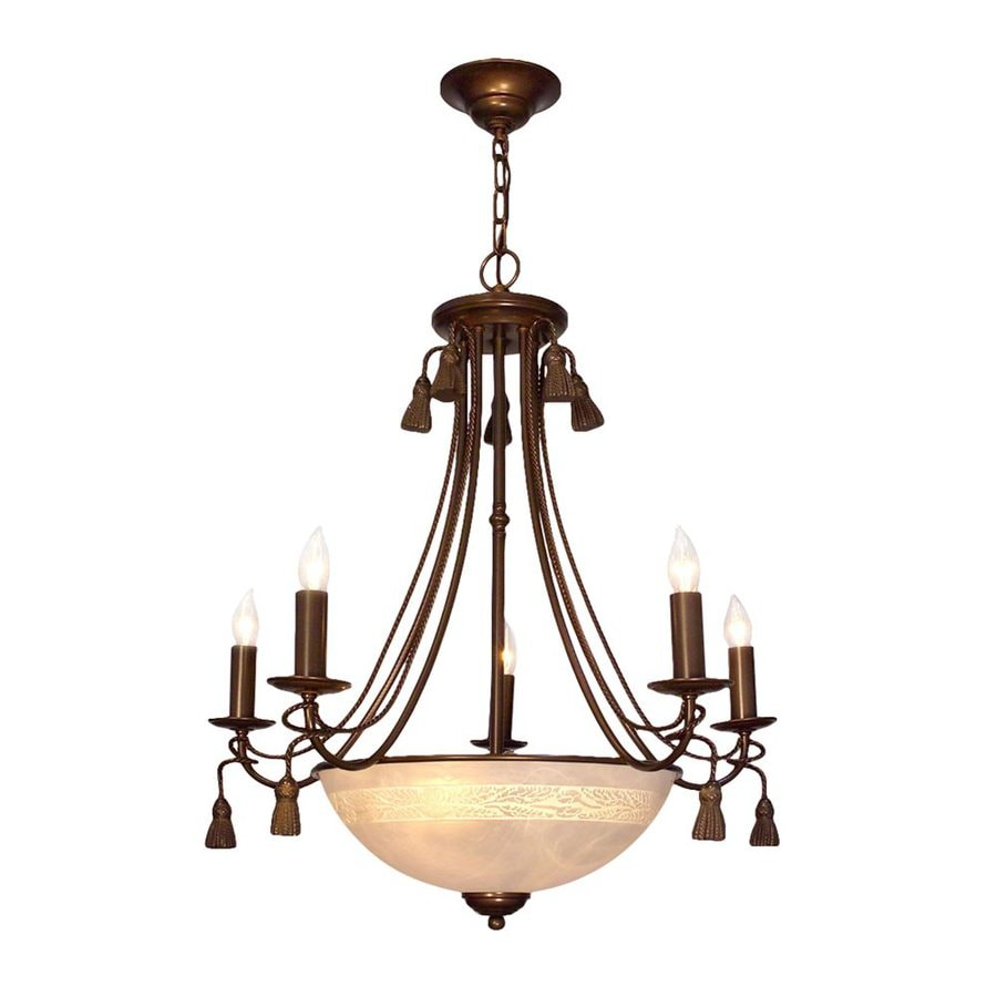 Classic Lighting Rope and Tassel 26-in 8-Light Bronze Vintage Alabaster Glass Candle Chandelier