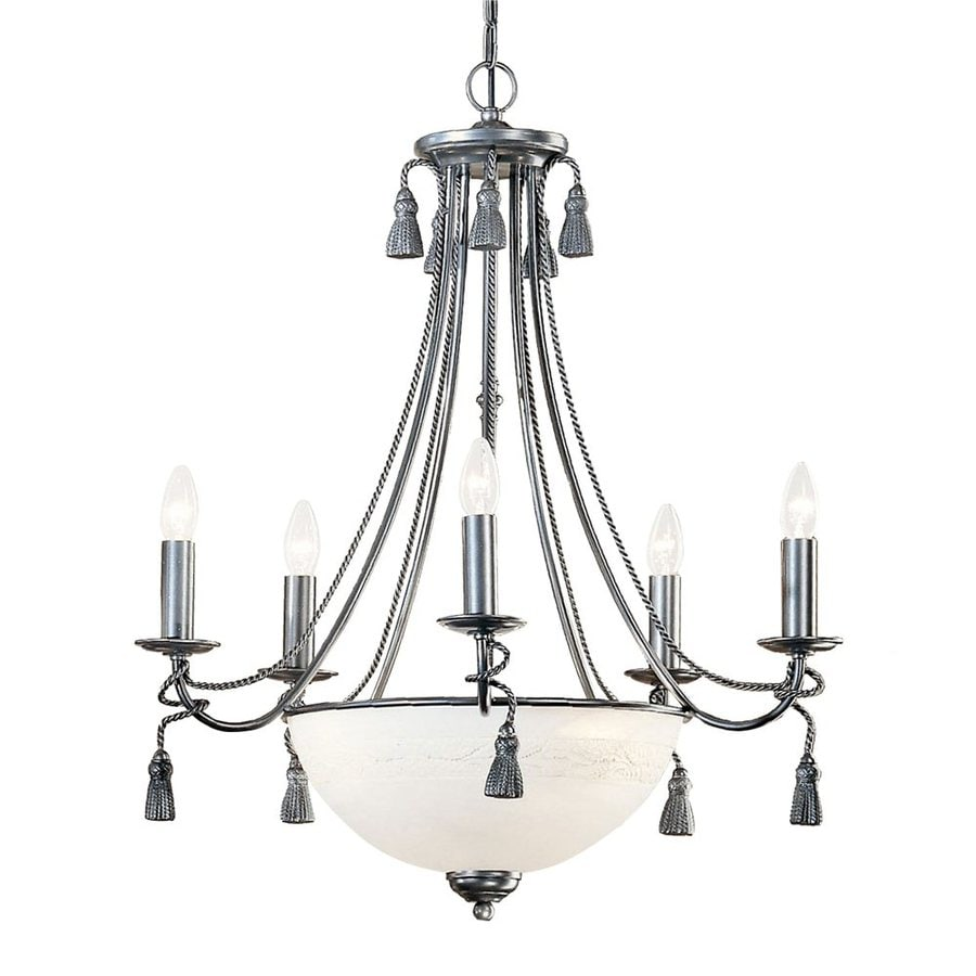 Classic Lighting Rope and Tassel 26-in 8-Light Pewter Vintage Alabaster Glass Candle Chandelier