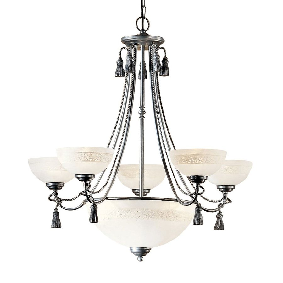 Classic Lighting Rope and Tassel 30-in 8-Light Pewter Vintage Alabaster Glass Shaded Chandelier