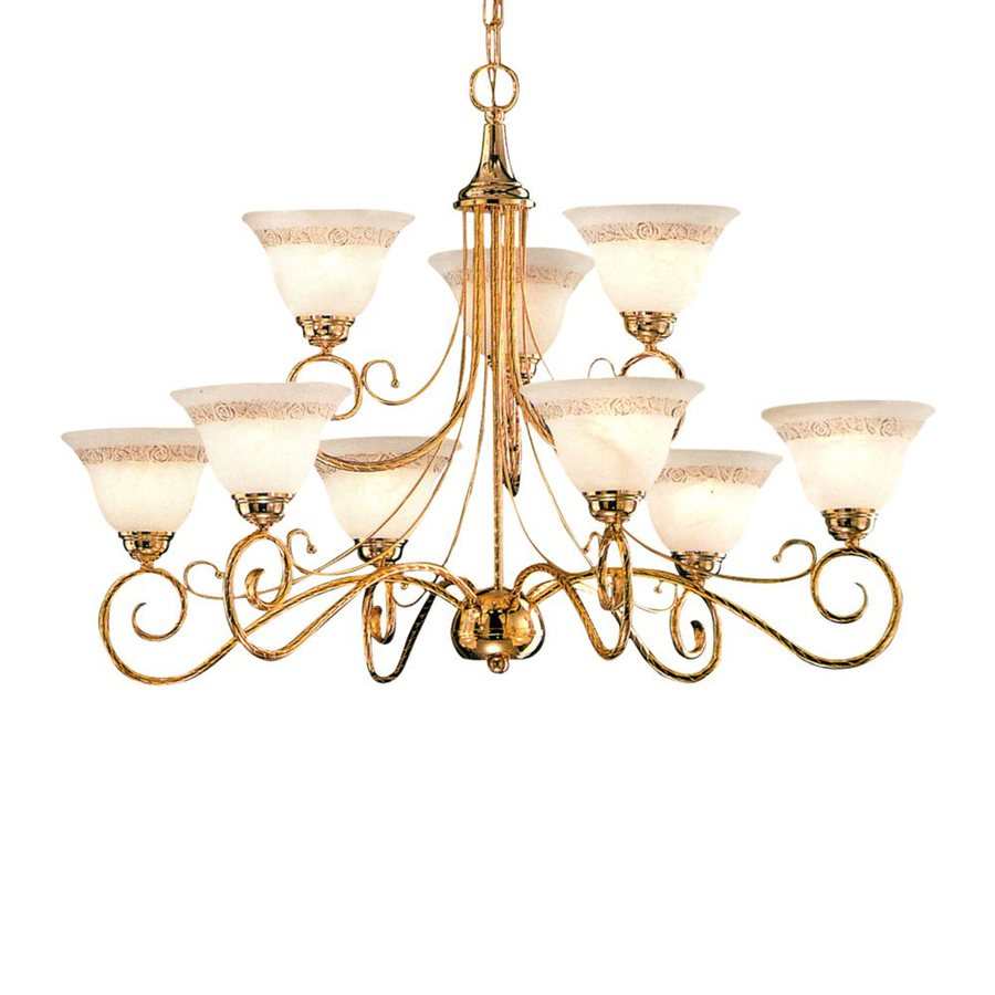 Classic Lighting Torino 34-in 9-Light Gold Mediterranean Tiered Chandelier