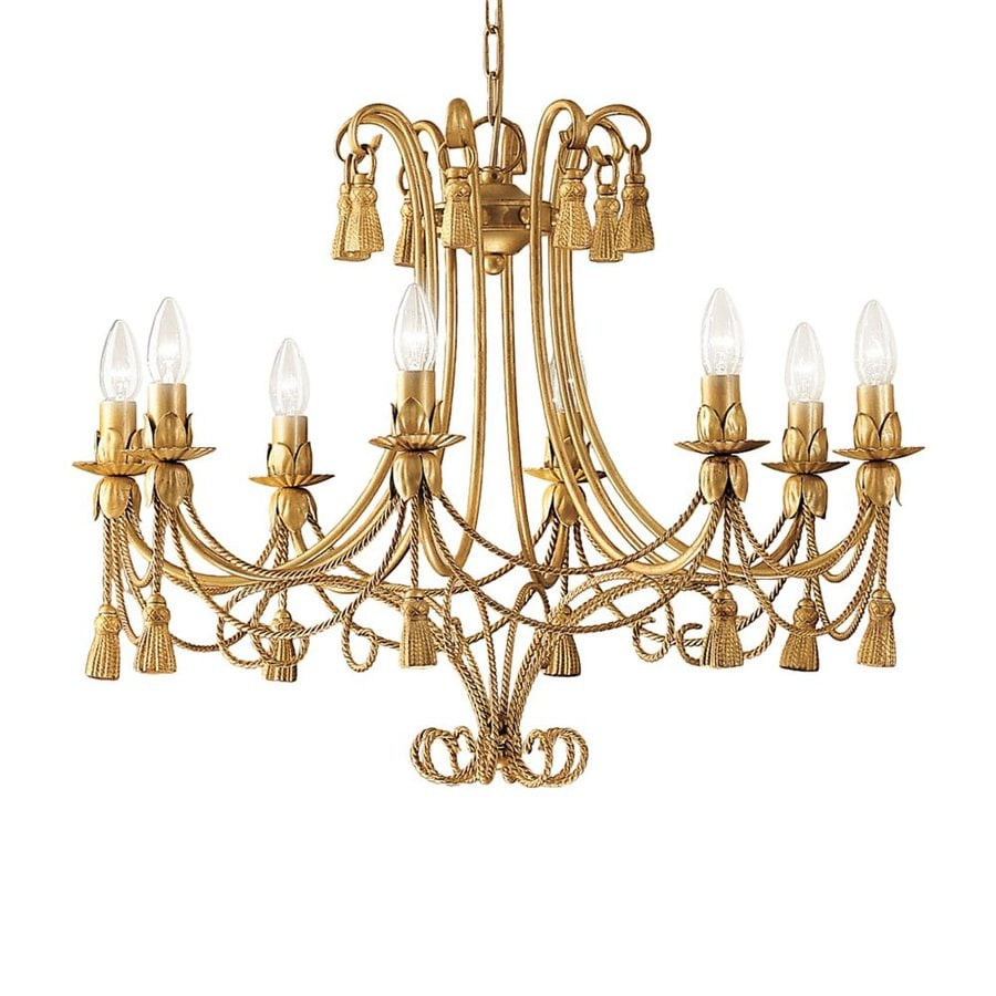 Classic Lighting Rope and Tassel 28-in 8-Light French Gold Vintage Candle Chandelier