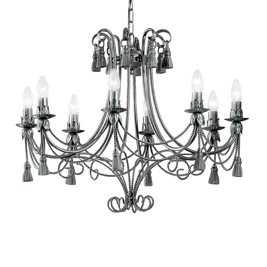 Classic Lighting Rope and Tassel 28-in 8-Light Pewter Vintage Candle Chandelier