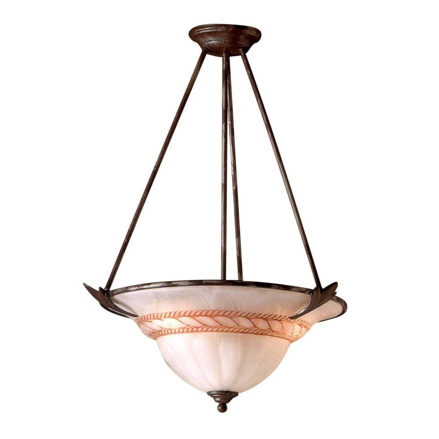Classic Lighting Roma 23-in Bronze Mediterranean Single Alabaster Glass Bowl Pendant