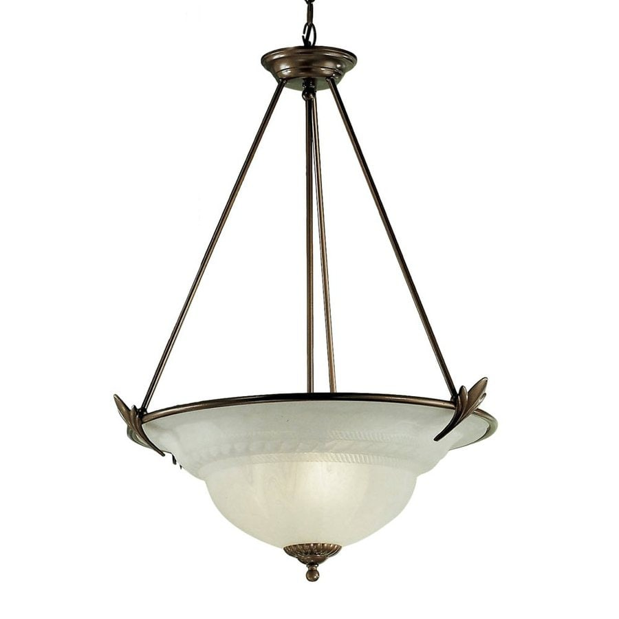 Classic Lighting Roma 23-in English Bronze Single Alabaster Glass Bowl Pendant