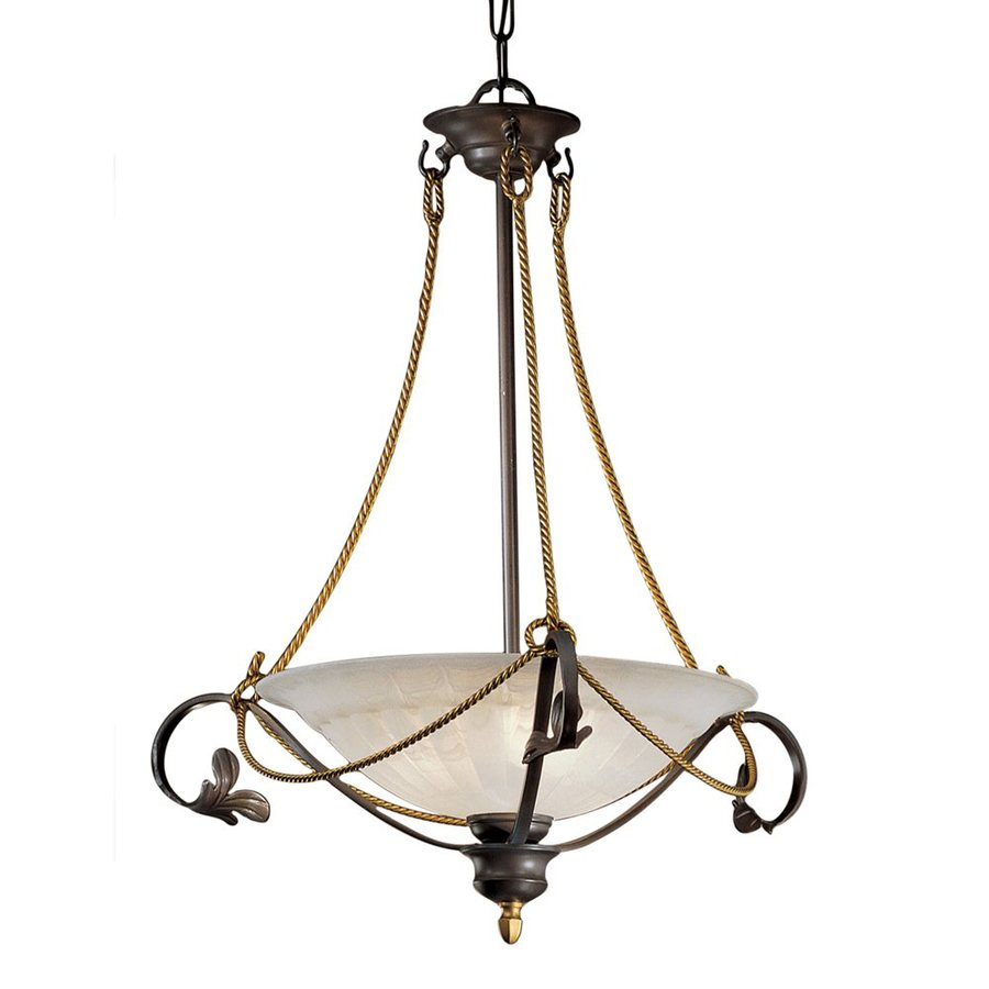 Classic Lighting Verona 24-in Bronze Wrought Iron Single Alabaster Glass Bowl Pendant