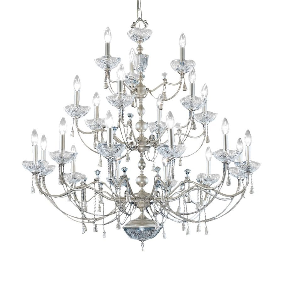 Classic Lighting Devonshire 40-in 21-Light Satin Nickel Crystal Crystal Tiered Chandelier