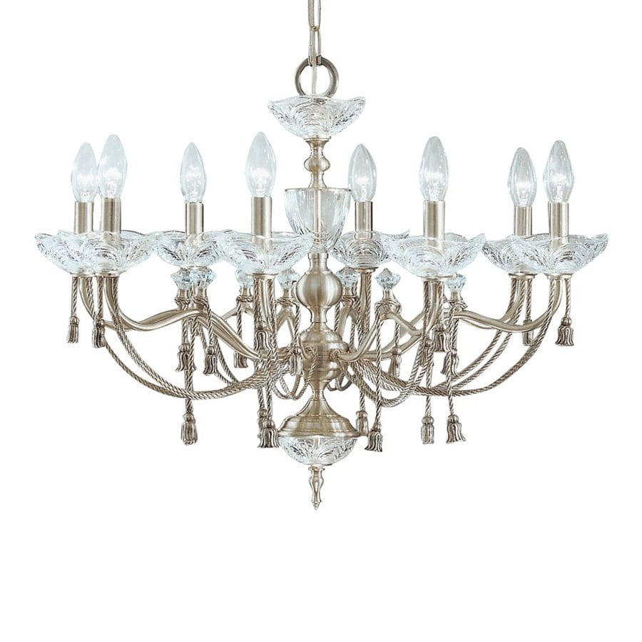Classic Lighting Devonshire 27-in 8-Light Satin Nickel Crystal Crystal Candle Chandelier