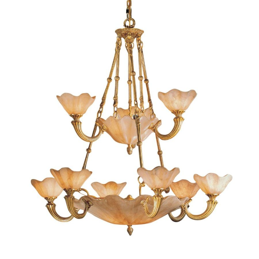 Classic Lighting Atlantis 39-in 16-Light Honey Bronze Vintage Tinted Glass Shaded Chandelier