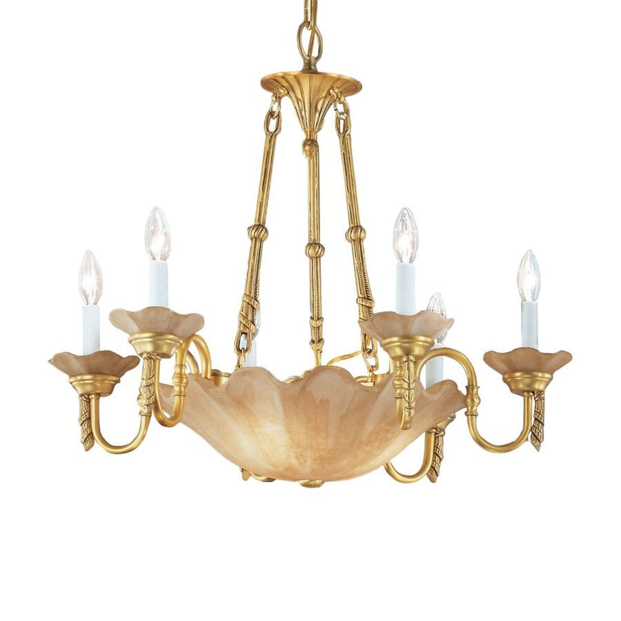 Classic Lighting Atlantis 27-in 9-Light Honey Bronze Vintage Tinted Glass Candle Chandelier