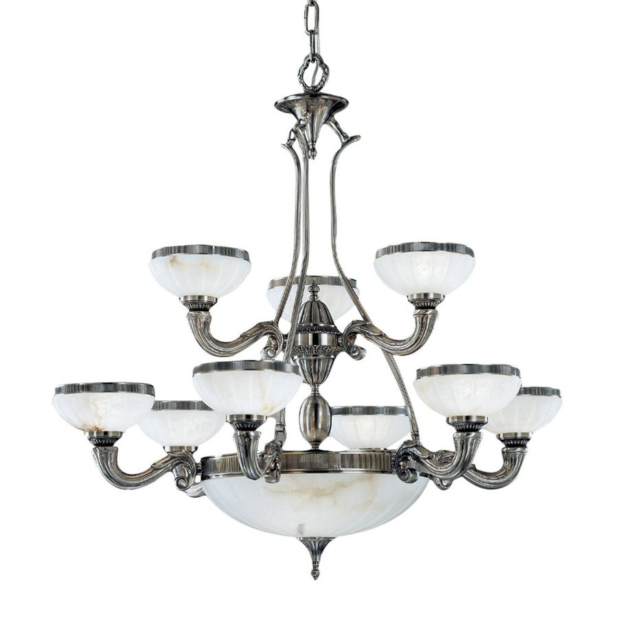Classic Lighting Chelsea 36-in 12-Light Pewter Vintage Alabaster Glass Shaded Chandelier