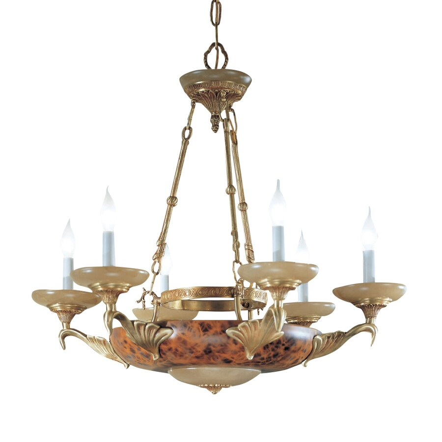 Classic Lighting Queen Anne Ii 32-in 8-Light Satin Bronze with Sienna Patina Alabaster Glass Candle Chandelier