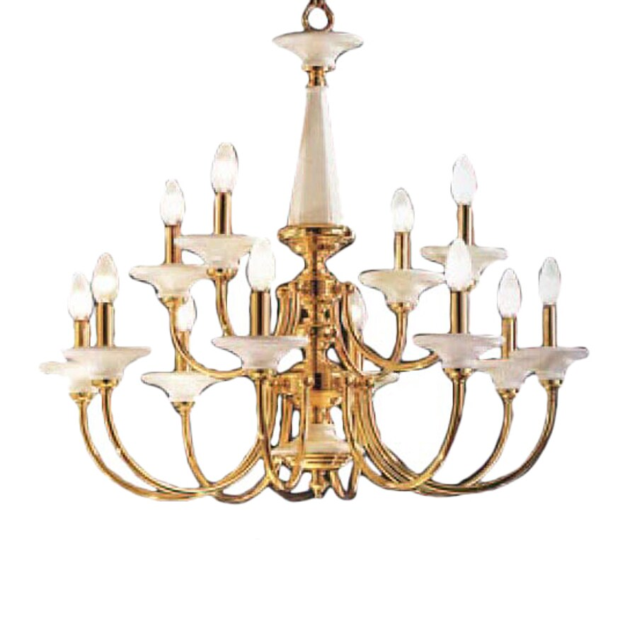 Classic Lighting Spanish Ceramic 30-in 12-Light Polished Brass Williamsburg Tiered Chandelier