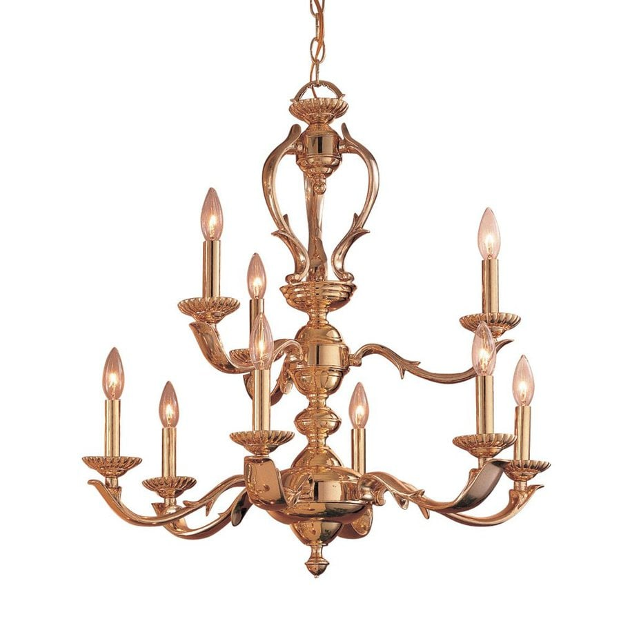 Classic Lighting Oxford 27-in 9-Light Polished Brass Vintage Candle Chandelier