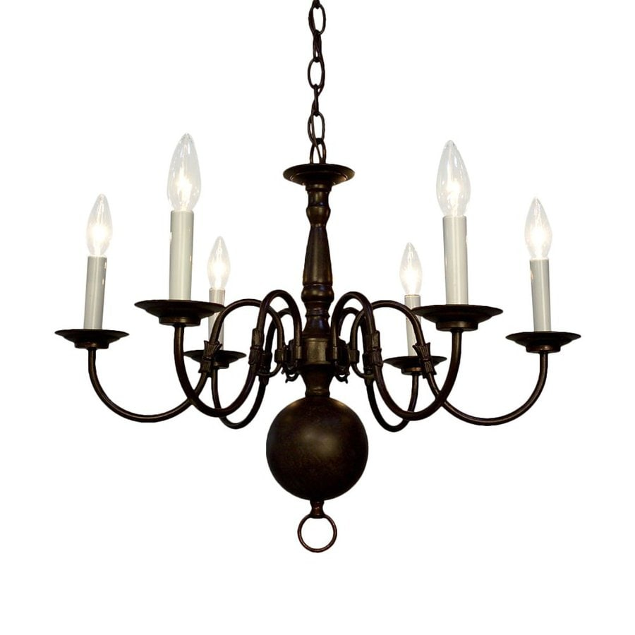 Shop classic lighting classic williamsburg 24 in 6 light oil rubbed classic lighting classic williamsburg 24 in 6 light oil rubbed bronze williamsburg candle chandelier aloadofball Image collections