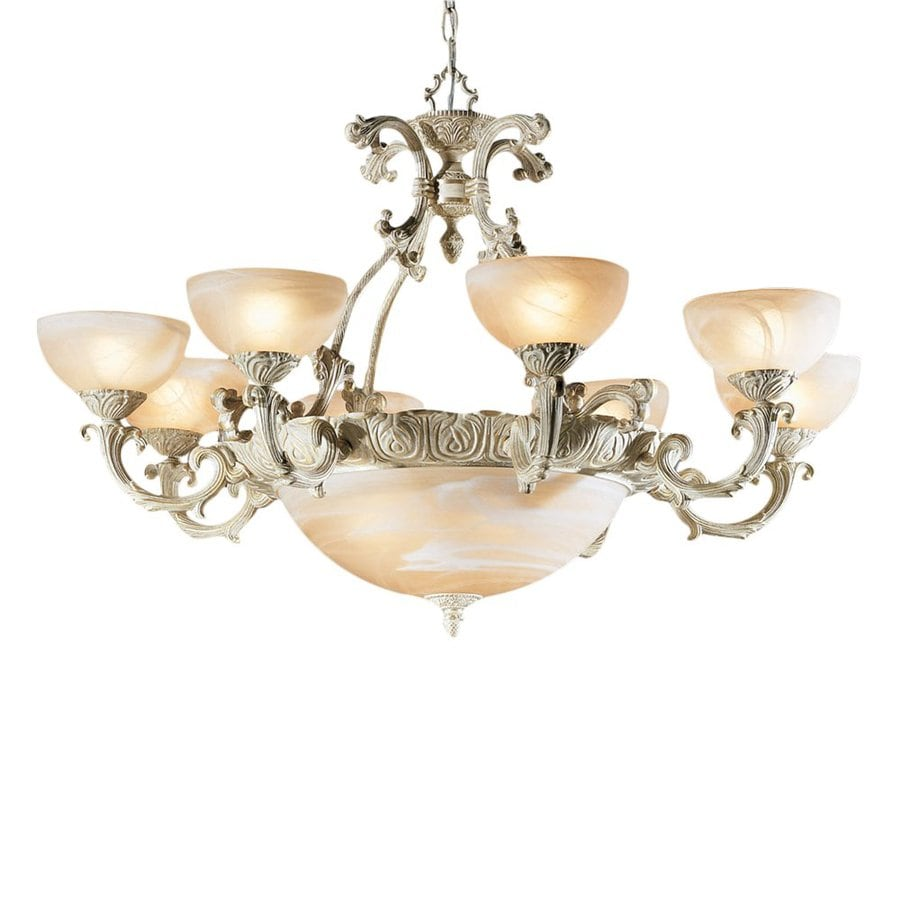 Classic Lighting Montego Bay 38-in 12-Light Sorrento Gold Vintage Shaded Chandelier