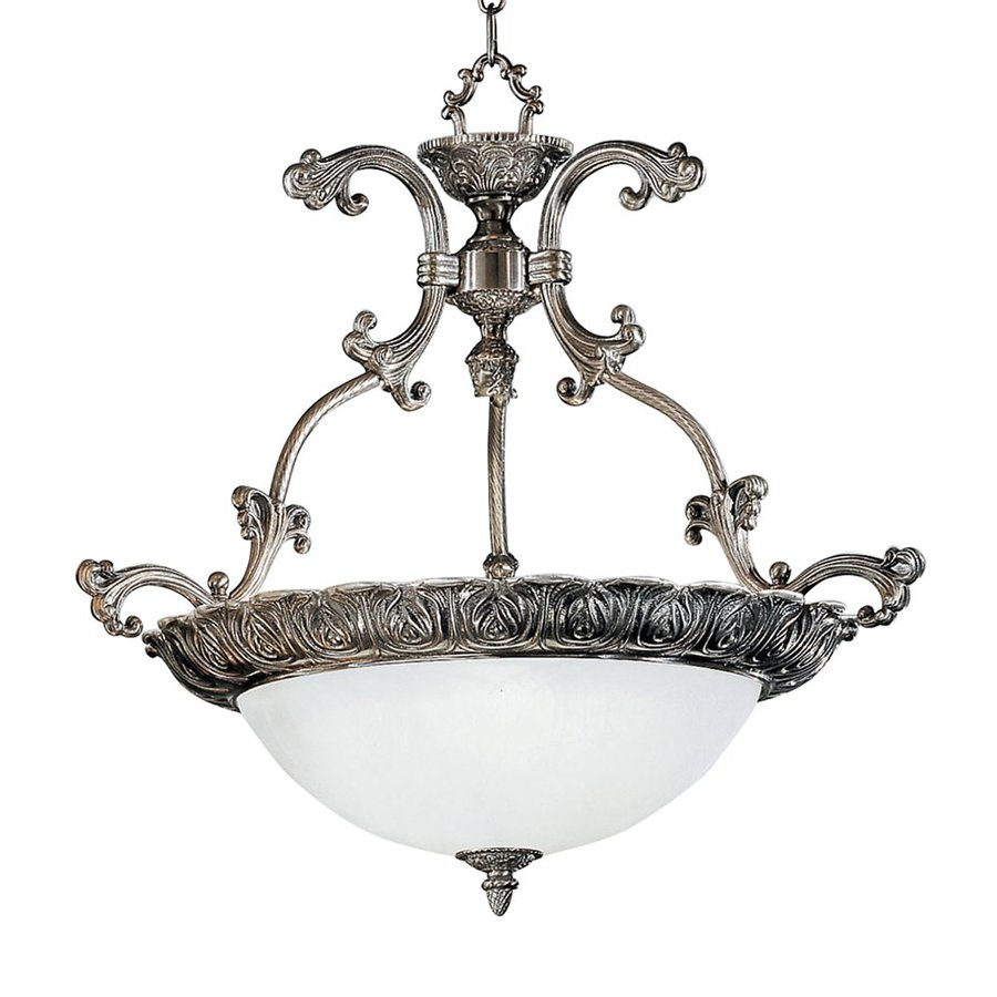 Classic Lighting Montego Bay 25-in Millennium Silver Vintage Single Alabaster Glass Bowl Pendant