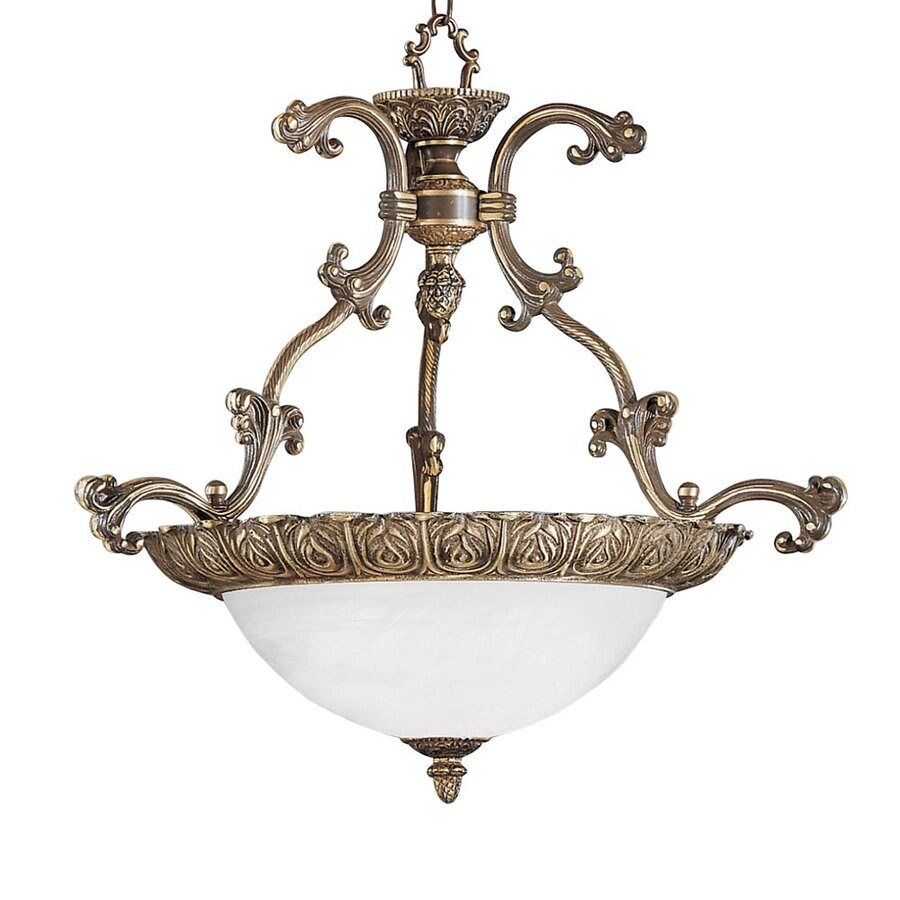 Classic Lighting Montego Bay 25-in Roman Bronze Vintage Single Alabaster Glass Bowl Pendant