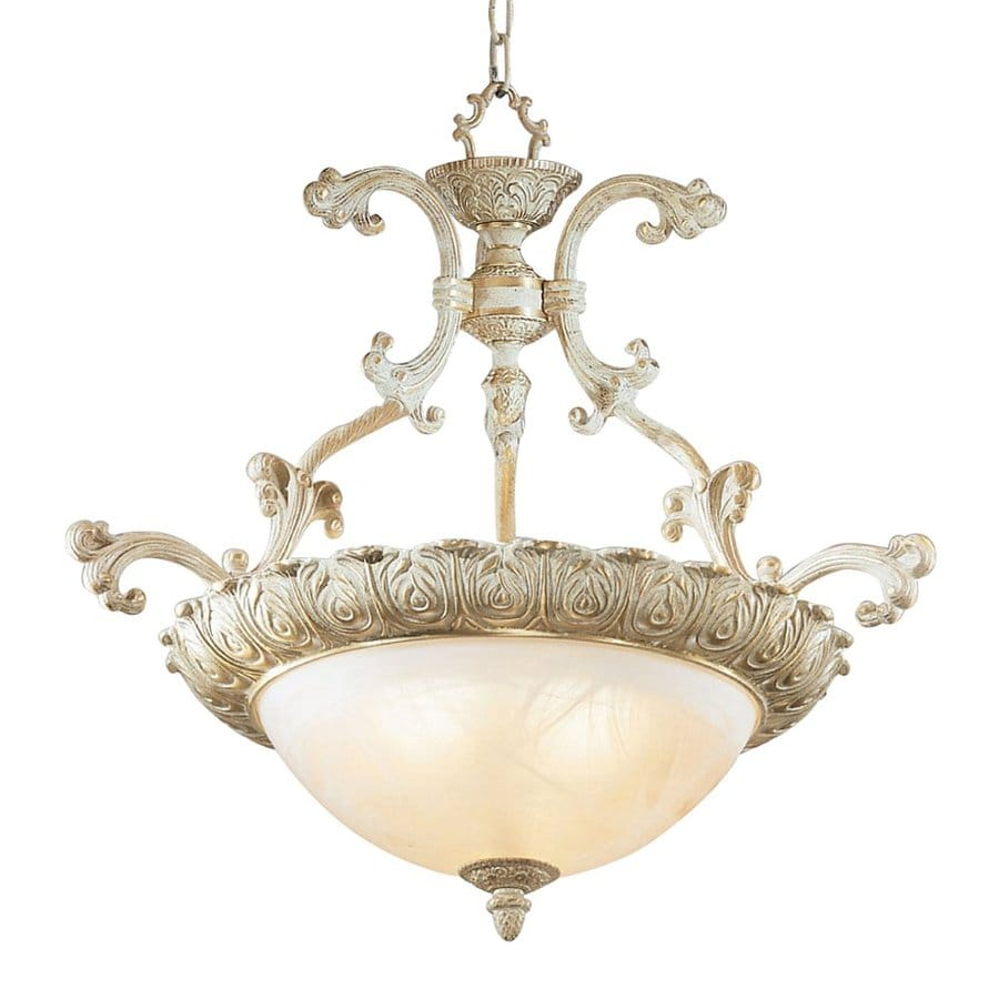 Classic Lighting Montego Bay 25-in Sorrento Gold Vintage Single Alabaster Glass Bowl Pendant