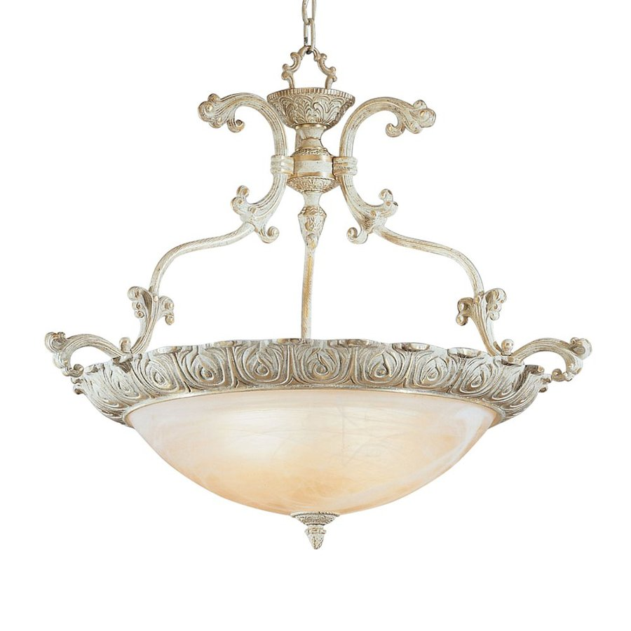 Classic Lighting Montego Bay 28-in Sorrento Gold Vintage Single Alabaster Glass Bowl Pendant