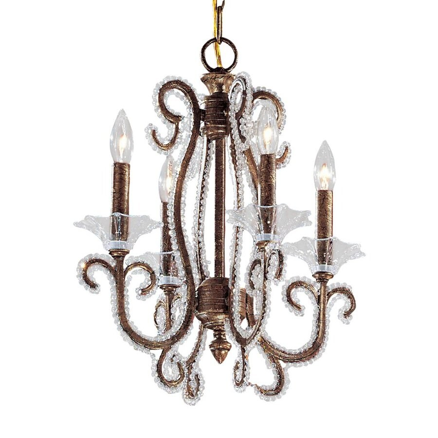 Classic Lighting Concerto 16-in 4-Light Crackle Bronze Vintage Candle Chandelier