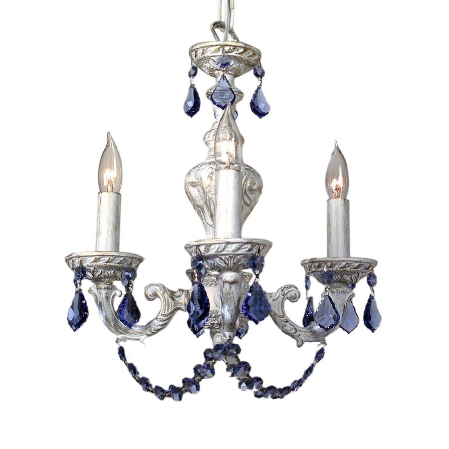 Classic Lighting Gabrielle 12-in 4-Light Antique White Vintage Crystal Candle Chandelier