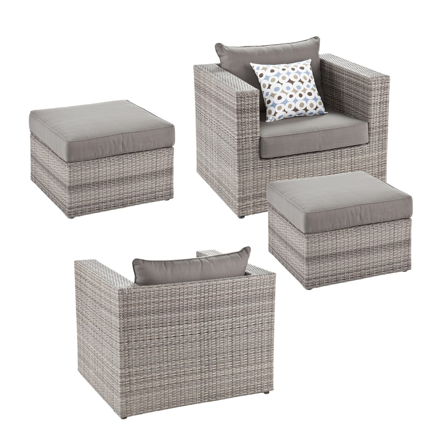 Boston Loft Furnishings Terra 4-Piece Wicker Patio Conversation Set