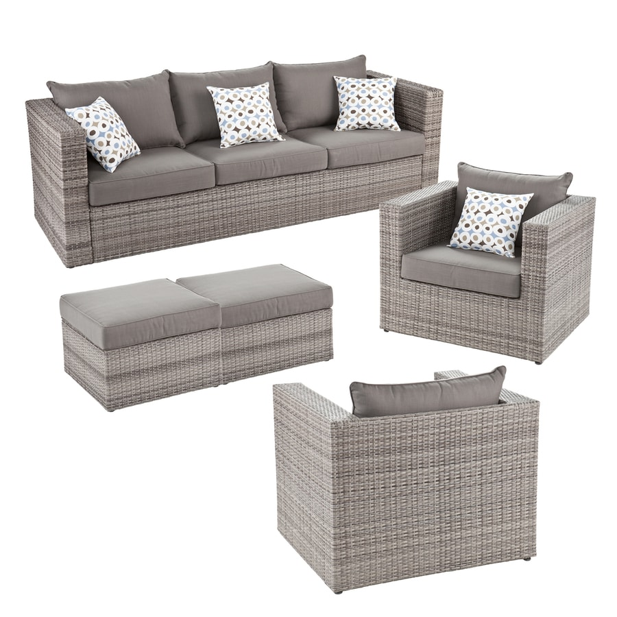 Boston Loft Furnishings Terra 5 Piece Wicker Frame Patio Conversation Set