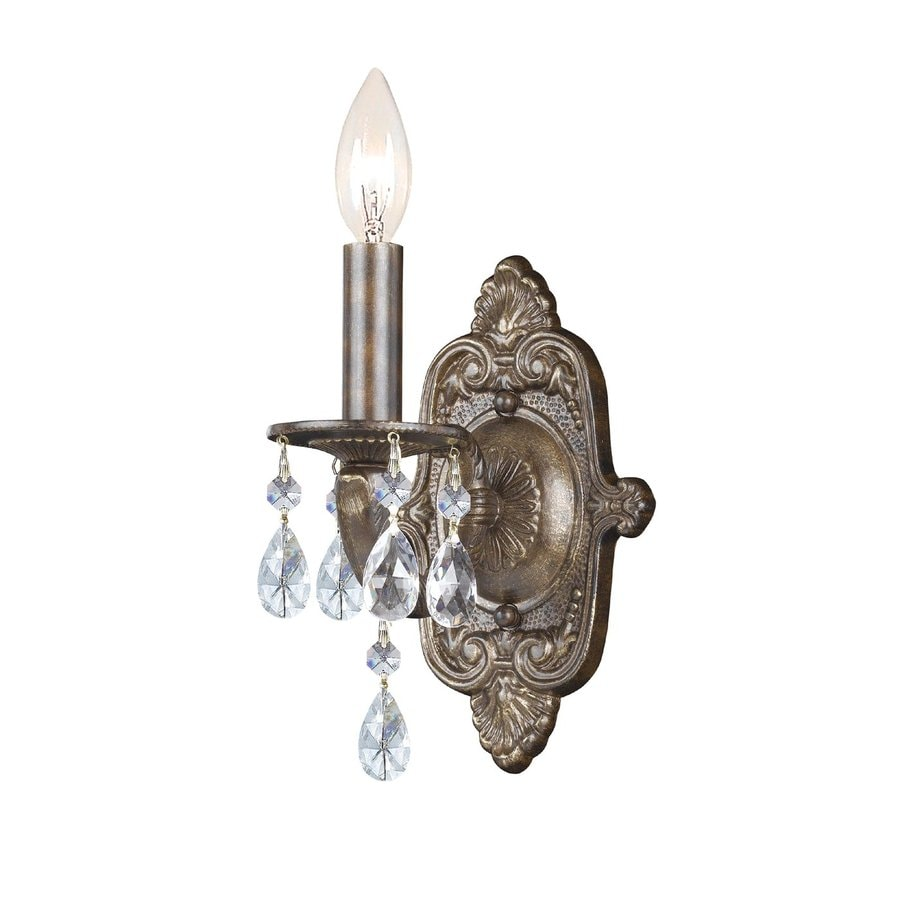 Skyrim Wall Sconces Not Working : Shop Cascadia Lighting 6.5-in W 1-Light Venetian bronze Crystal Accent Arm Wall Sconce at Lowes.com