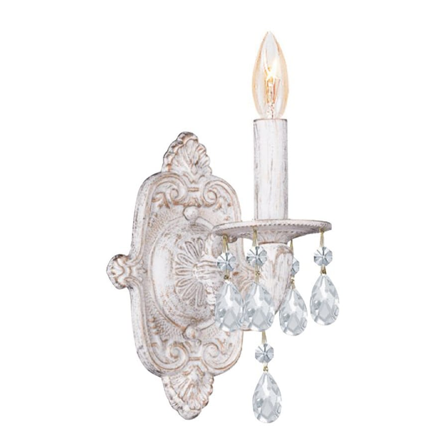 Cascadia Lighting 6.5-in W 1-Light Antique White Crystal Accent Arm Wall Sconce
